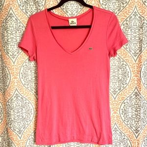 Hot pink Lacoste tee